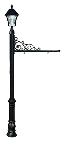 Qualarc REPST-700-BL-SL Prestige Powder Coated Aluminum Real Estate, Business and Yard Sign, with Bayview Solar Lamp & Ornate Base in Black, Ships in 2 boxes ()