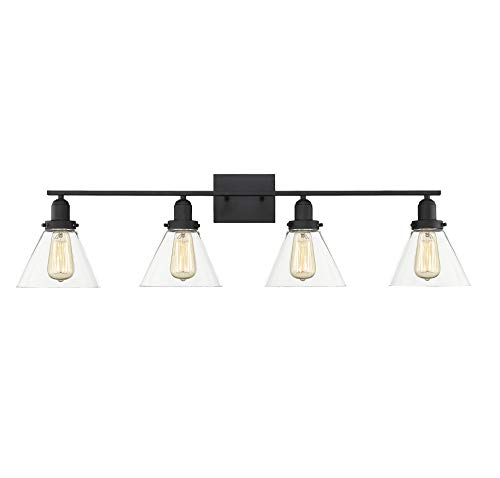 - Savoy House 8-9130-4-BK Drake 4-Light Bathroom Vanity Light in a Black Finish with Clear Glass (38