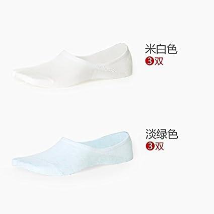 6 Dos botes de otoño de color sólido, calcetines de algodón Liviano, Delgado,