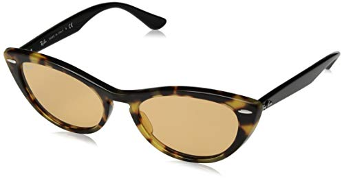 Ray-Ban Women's RB4314N Nina Cat Eye Sunglasses, Tortoise Gialla/Yellow Mirror, 54 mm