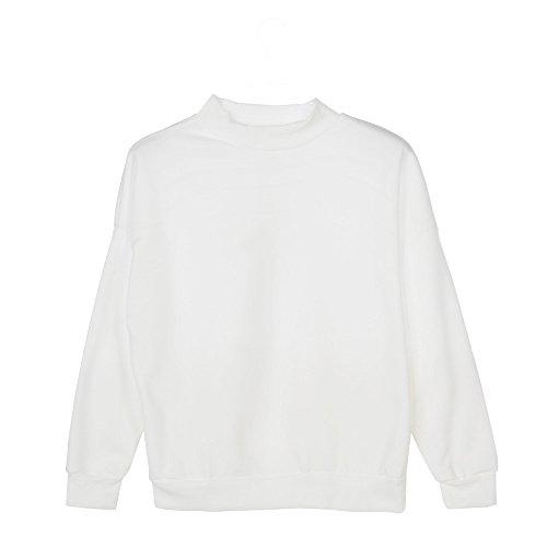 ?? Vendita di Liquidazione Donne Felpa da Donna Taglia Forte di Pullover in Suede Scamosciato T-Shirt Maniche Lunghe Elegante Camicette Camicie Casual Tops Bianco