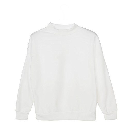 Lunghe Tops Camicie Maniche T Felpa di Elegante da Donna Camicette Forte Suede Casual in Donne di Shirt Bianco Scamosciato Pullover Vendita Liquidazione Taglia CHqa1a
