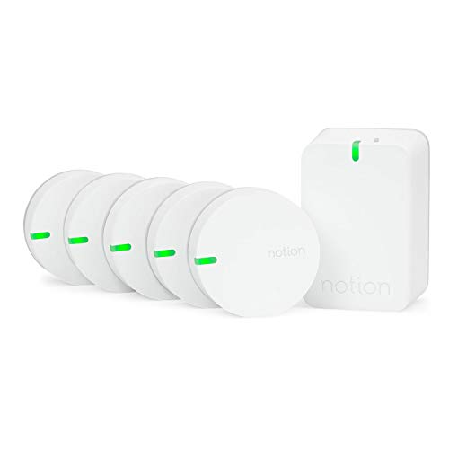 (Notion Smart Home System (Gen 3): Monitor and Receive Alerts on Doors, Windows, Water Leaks, Sounding Alarms. Works with Nest (1 Bridge + 5 Wireless Sensors))