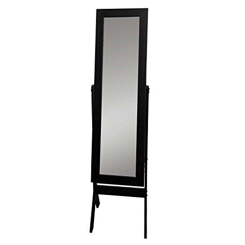 Schmuckschrank mit Spiegel 159x37x40cm Spiegelschrank Schmuckkasten Standspiegel Schmuckkommode Schmuck Spiegel Schwarz -