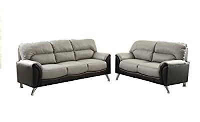 Poundex Bobkona Hector Bonded Leather 2Piece Sofa & Loveseat Set in black & Grey Two Tone