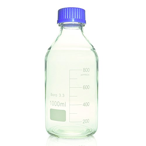 Glass Media Bottles (1000ml Glass Media Storage Bottles, Round, with GL45 Screw Cap, Karter Scientific 232J4 (Single))