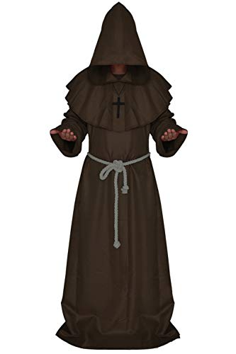 Costume for The Medieval Monks Priest Robe Hooded Cosplay Various Styles (Medium, Coffee)