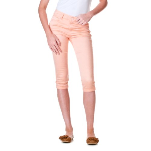 Reve Jeans Skinny Ankle Cut Low Rise Capris, Peach, 7 Peaches Low Rise Pants