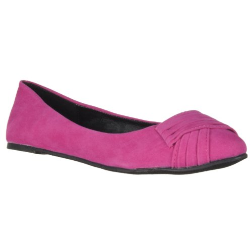 Bamboo Womens Jump Ruched-detail Microsuede Flats Fuschia OXQN4Vggy