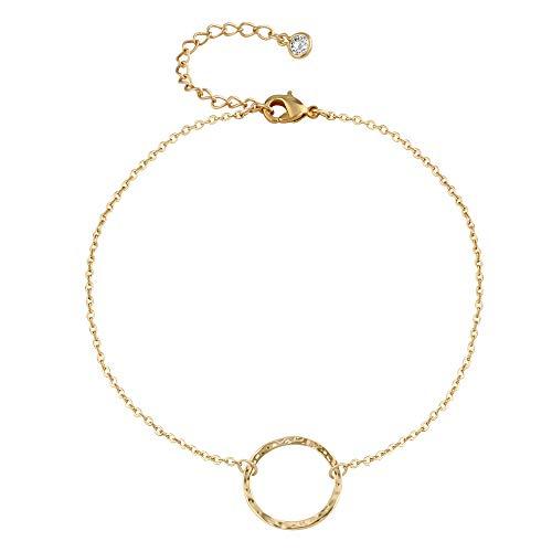 Karma Circle Bracelets For Women,14K Gold Plated Handmade Dainty Chain Link Friendship Hammered Cute Round Circle Charm Bracelet ()