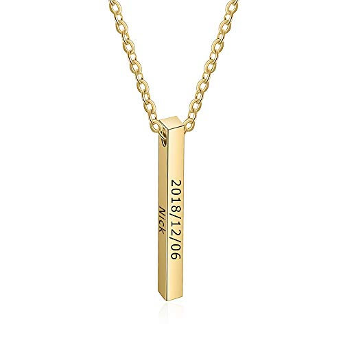 OPALSTOCK Personalized Couple Necklace Stainless Steel Message Name Necklace Vertical Bar Necklace Pendant (Gold)