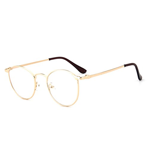 D.King Vintage Oversized Round Metal Frames Clear Lens Glasses Eyeglasses Gold