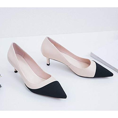 Mujer ZHZNVX Black Zapatos sintéticos Heel Comfort Spring de Almond Gray Chunky Almond Heels HwREqrH