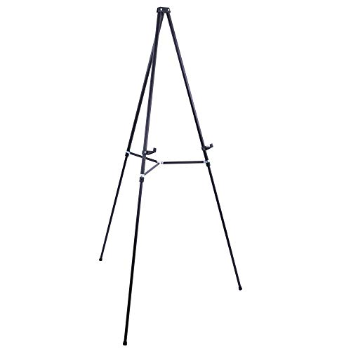 """U.S. Art Supply 66"""" High Showroom Black Aluminum Display Easel and Presentation Stand - Large Adjustable Height Portable Tripod, Holds 25 lbs - Floor and Tabletop, Display Paintings, Signs, Posters from US Art Supply"""