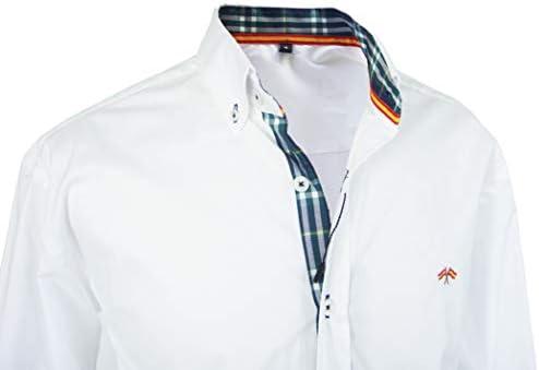 Pi2010 Camisa Bandera de España Hombre Blanco con Cuadro escoces, Fabricado en España: Amazon.es: Ropa y accesorios