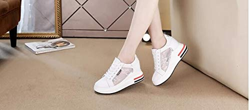 SFSYDDY Shoes Black single Gauze Sports Increased 8Cm Leather Women'S Women Breathable White Wild Summer Shoes Fresh Shoes Small B1ParBFqz