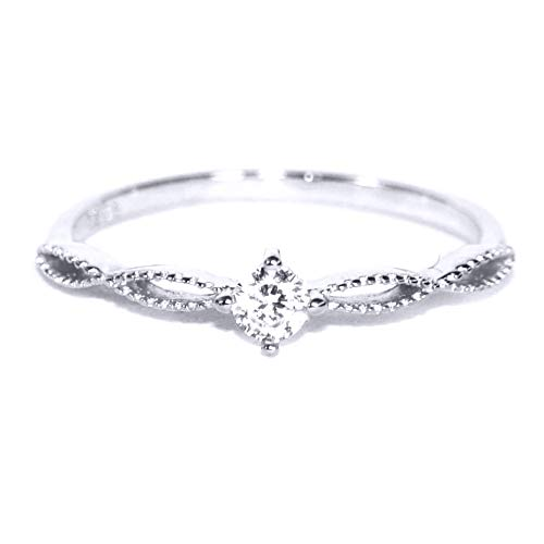 (Gieschen Jewelers SIMPLICITY .925 Sterling Silver CZ Super Dainty Engagement Ring, Size 8)