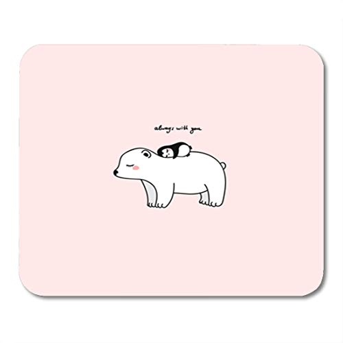 Semtomn Gaming Mouse Pad Big White Pretty Polar Bear with Little Penguin Pink Background 9.5