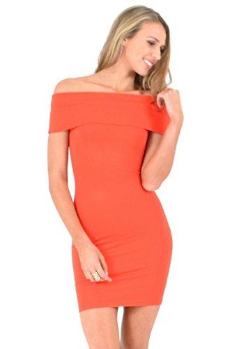 NEW Mesdames orange Off épaule Mini robe Club Wear Soirée D'Été Robes Taille M 10–12