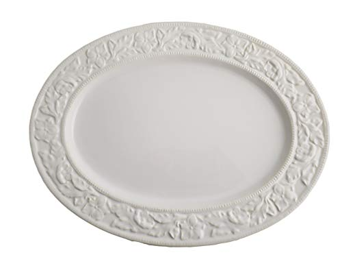 Serving Platter Oval Embossed White Dolomite Color Boxed 18 inch ()