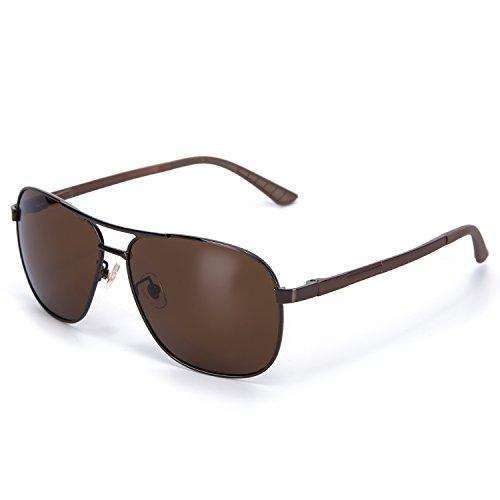 YJMILL 2018 New Men Best Polarized Sunglasses Glass Riding Fishing Sport 8046 (Brown, - Anteojos Oscuros