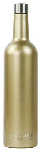 - Eco Vessel VINE TriMax Triple Insulated Wine Bottle, Gold Dust, 25 oz
