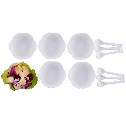 (AHUA Porcelain Ramekin Flower Shape White 4 oz. Pudding Bowls Dishes Cup for Baking- Set of 6,Desserts, Creme Brulee,Souffle Cups Dishes,Custard Cups,Oven,Microwave, Freezer and Dishwasher Safe)
