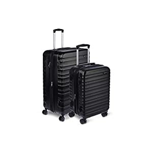 Amazon Basics Hardside Spinner Suitcase Luggage – Expandable with Wheels – 2-Piece Set, Black