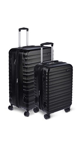 "AmazonBasics Hardside Spinner Luggage - 2 Piece Set (20"", 28""), Black"