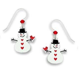 Sienna Sky Holiday Christmas Snowman Red Bird Earrings
