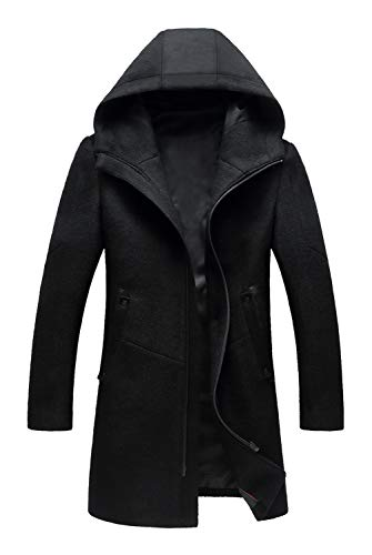 Mens Hooded Wool - ELETOP Men's Classic Trench Coat Winter Wool Hooded Jacket 1812 Black M