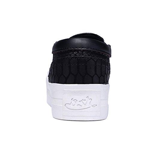 Enllerviid Donna Alta Piattaforma Slip On Sneakers Moda Low Top Punta Rotonda Mocassini Casual Scarpe 163 Nero / Pelle Di Serpente
