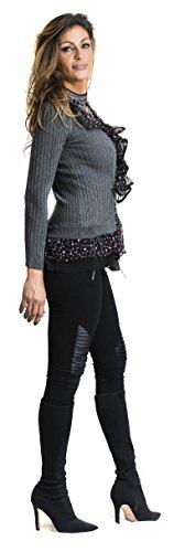 STEKOST - Camiseta de manga larga - Con los botones - Cuello redondo - para mujer gris