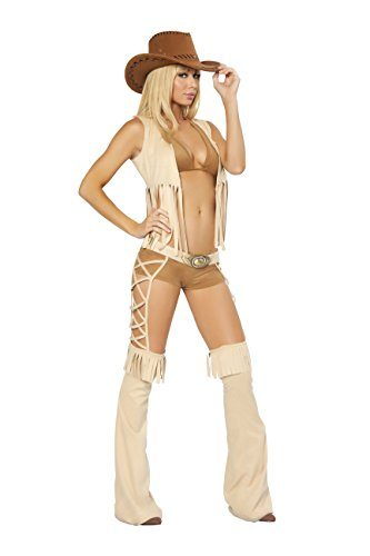 Sexy Women's 5pc Easy Rider Cowgirl Western Hottie Costume (S/M) Brown/Tan -