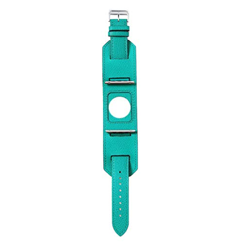 Sodagreen Replacement Band Compatible for Apple Watch Band Series 1 2 3 4 38/40mm, Leather Strap Cuff Bracelet Band IWatch, Adjustable Wrist Wristband Bangle, for Men Women Small Large (Green)
