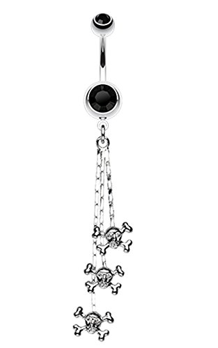 Skull & Crossbones Dangle Belly Button Ring - 14 GA (1.6mm) - Black - Sold Individually (Ring Crossbones Belly)