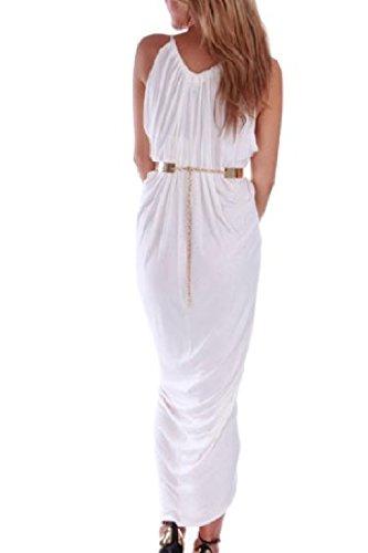 Elegante Sin Mangas Mujer Verano Sobrepelliz Acanalada Vestido Maxi Split De Alta Corte Irregular White