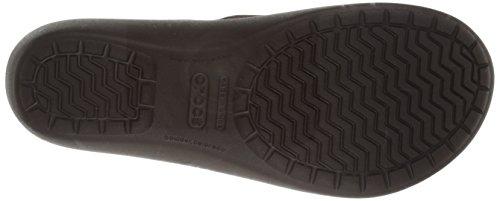 Crocs - Damen Capri Leder Flip Sandalen Mahogany/Mahogany