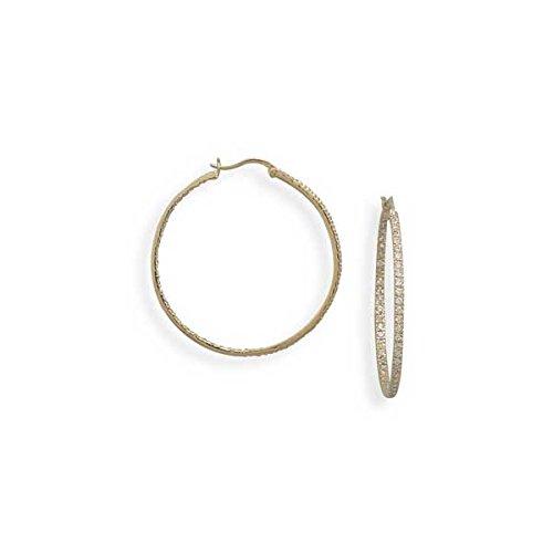 Joyara - Boucles D'oreilles Créoles Plaqué Or 585/1000 (14 ct)Oxyde de Zirconium /