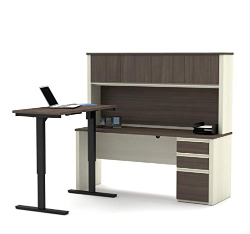 (Bestar 2-Piece Set Including a Standing Desk and a Desk with Hutch - Prestige Plus)