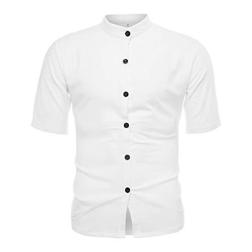 Men's Vintage Pure Color Linen Solid Short Sleeve Retro T Shirts Tops Blouse White