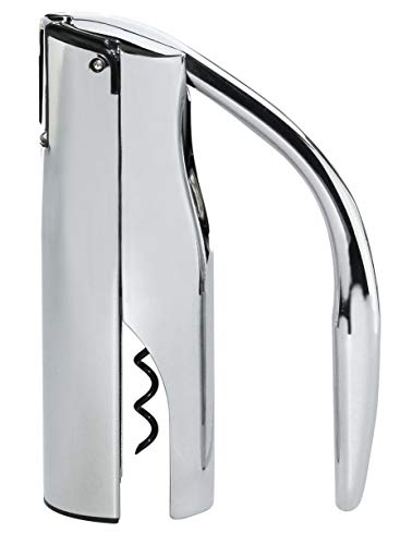 Vinturi V9036 Vertical Lever Corkscrew Wine Opener with with Built-in Foil Cutter and Non-stick Cork Spiral, Silver