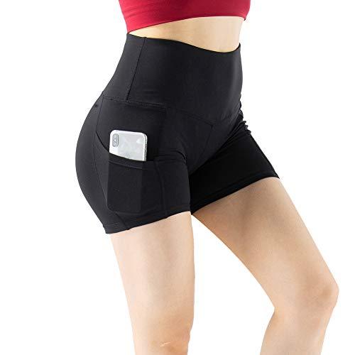 YOGAFEEL Women's Girls High Waist Yoga Shorts with Pockets Tummy Control Running Dolphin Shorts Bottoms Black Large