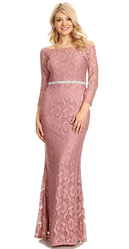 Womens Ladies Fashion Mother of Bride Off Shoulder Lace Long Formal Evening  Wedding Dress (Mauve, Large)