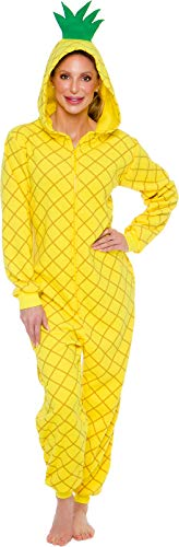 Silver Lilly Slim Fit Pineapple Costume - Adult One Piece Cosplay Novelty Pajamas (Yellow, Medium)