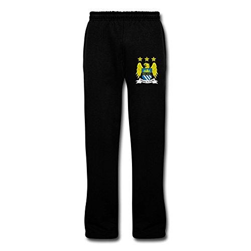 Men's Manchester City Fc Logo Customized Fleece Pants With Pockets 3X Black By Rahk