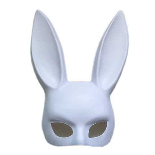 Women's Masquerade Rabbit Bunny Mask for Birthday Easter Halloween Eve Party Costume Masks(Matte White)]()