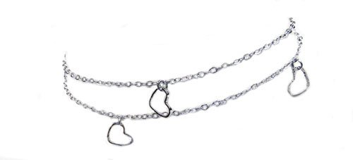 Anklet Bracelet Fashion Jewelry - Silver Tone Double Strand with Diamond-Cut Hearts