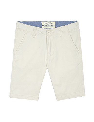 Nautica Boys' Little Solid Flat Front Short, Felton Light Khaki, 7