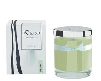 Rigaud Paris, Jasmin Bougie D'ambiance Parfumee, Medium Candle Modele Complet with Metal Silver Lid, Light Green, 5.6 Oz, 60 - Bon Le Jasmin